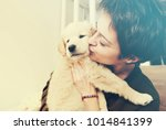 Stock photo girl kissing her new golden retriever puppy and enjoying his cuteness 1014841399