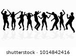 dancing people silhouettes.... | Shutterstock .eps vector #1014842416
