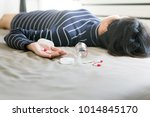 woman sleep unconscious after...   Shutterstock . vector #1014845170