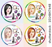 vector image of four girls and... | Shutterstock .eps vector #1014847648