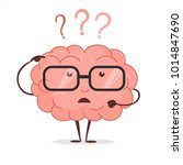 brain cartoon with questions... | Shutterstock .eps vector #1014847690