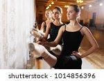 three young cute ballerinas... | Shutterstock . vector #1014856396