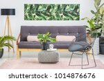 black chair next to patterned...   Shutterstock . vector #1014876676