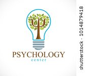 psychology concept vector logo... | Shutterstock .eps vector #1014879418