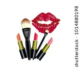 lipstick vector red and kiss | Shutterstock .eps vector #1014880198