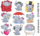 set of cute cartoon elephants...   Shutterstock .eps vector #1014887818