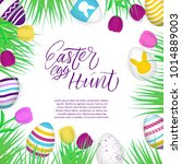 happy easter poster with modern ... | Shutterstock .eps vector #1014889003
