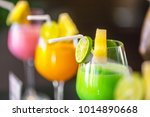 the colorful juice with sliced... | Shutterstock . vector #1014890668