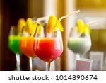 the colorful juice with sliced... | Shutterstock . vector #1014890674
