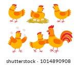 happy hen cartoon character in... | Shutterstock .eps vector #1014890908