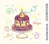 vector birthday cake with 3... | Shutterstock .eps vector #1014893338