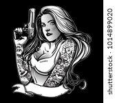 beautiful gangsta girl | Shutterstock .eps vector #1014899020