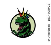 punk t rex head mascot logo...