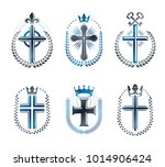 christian crosses emblems set.... | Shutterstock .eps vector #1014906424