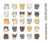 cute cartoon cats and dogs with ... | Shutterstock . vector #1014914740