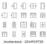 set of door related vector line ... | Shutterstock .eps vector #1014919720