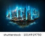 fantasy island floating in the... | Shutterstock . vector #1014919750