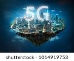 Small photo of Fantasy island floating in the air with 5G network wireless systems and internet of things , Smart city and communication network concept .