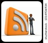 3d man standing beside rss feed ... | Shutterstock . vector #1014936934
