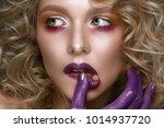 beautiful blonde girl with... | Shutterstock . vector #1014937720