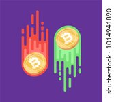 bitcoin. physical bit coin.... | Shutterstock .eps vector #1014941890