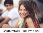 portrait of a happy latin girl... | Shutterstock . vector #1014946420