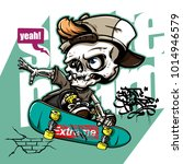 hand drawing style of skull... | Shutterstock .eps vector #1014946579