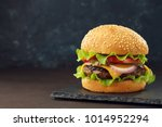 homemade burger with beef... | Shutterstock . vector #1014952294