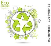 environmentally friendly world. ... | Shutterstock .eps vector #1014958486
