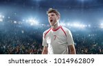 happy soccer player celebrate a ... | Shutterstock . vector #1014962809