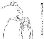 cat licks the girl coloring... | Shutterstock .eps vector #1014968620