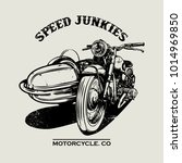 hand drawn motorcycle poster. | Shutterstock .eps vector #1014969850