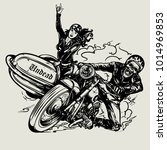 hand drawn motorcycle poster. | Shutterstock .eps vector #1014969853