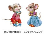 two funny little mouse  mice... | Shutterstock . vector #1014971209