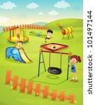 illustration of children in the ... | Shutterstock .eps vector #101497144