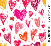 hearts love vector seamless... | Shutterstock .eps vector #1014974869