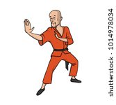 shaolin monk practicing kung fu ... | Shutterstock .eps vector #1014978034