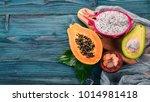 dragon fruit  avocado  papaya... | Shutterstock . vector #1014981418