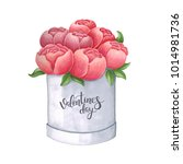 sketch markers peony in a box... | Shutterstock . vector #1014981736