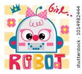 cute robot girl cartoon smile... | Shutterstock .eps vector #1014982444