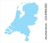 pixel mosaic blue dot map on... | Shutterstock .eps vector #1014984283