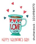 sketch markers coffee cup with... | Shutterstock . vector #1014984970