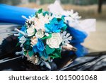 wedding bouquet of white and... | Shutterstock . vector #1015001068