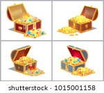 chest of wood with treasures ... | Shutterstock .eps vector #1015001158