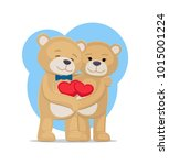 bears lovers hold hearts in... | Shutterstock .eps vector #1015001224
