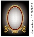 golden oval mirror frame with... | Shutterstock .eps vector #1015008013