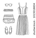 hand drawn clothes set. fashion ... | Shutterstock .eps vector #1015018834