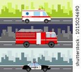 an ambulance  a fire truck  a... | Shutterstock .eps vector #1015024690
