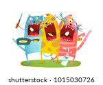 fun hungry cats animals eating... | Shutterstock .eps vector #1015030726