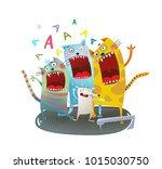 cats singing friends. comic... | Shutterstock .eps vector #1015030750